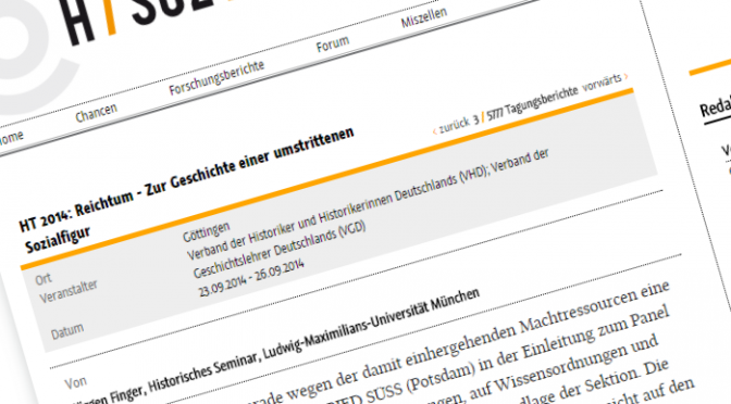 """In eigener Sache: Tagungsbericht """"Reichtum"""""""